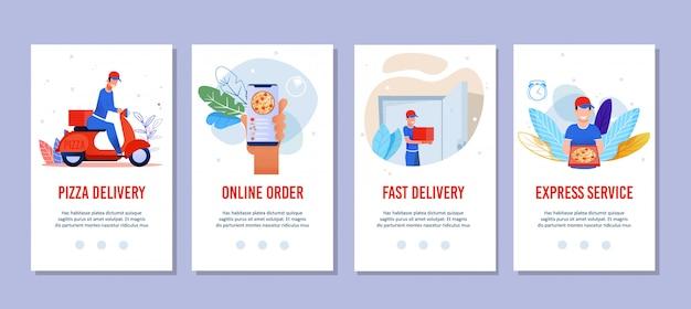Páginas móveis planas definidas para serviços de entrega de pizza Vetor Premium