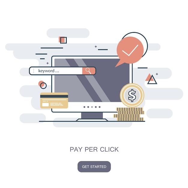 Pago por clique Vetor Premium