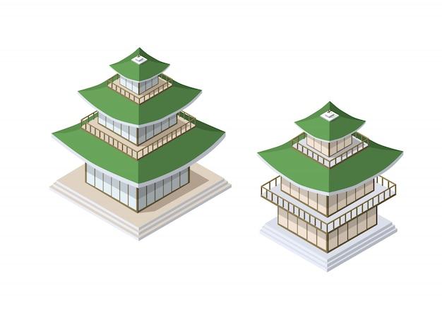 Pagode chinês casa de construção de arte budista de Vetor Premium