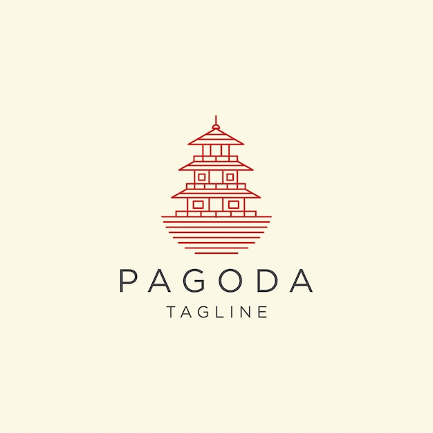 Pagode japão templo logotipo ícone design modelo ilustração Vetor Premium