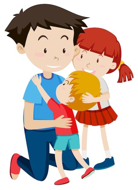 Pai, abraçando, seu, crianças Vetor grátis
