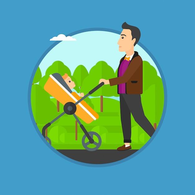 Pai andando com seu bebê no carrinho. Vetor Premium