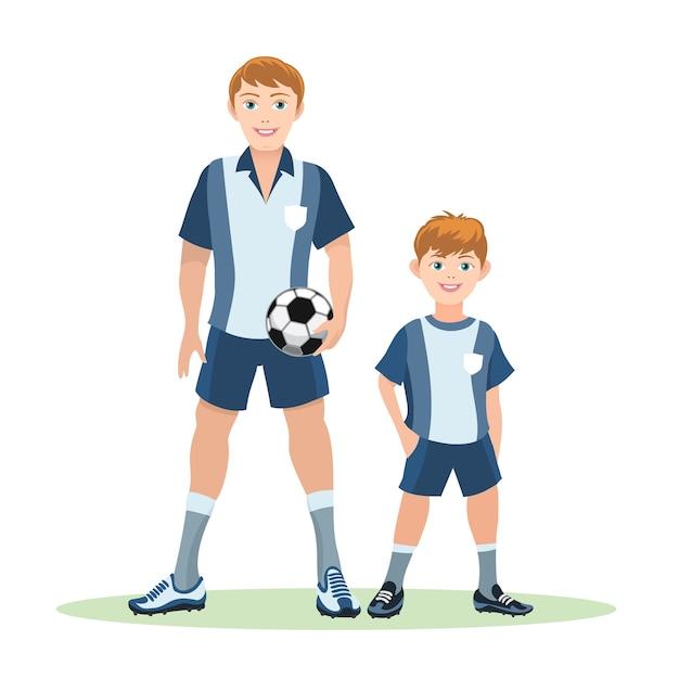 Pai com bola e filho em campo verde, time de futebol Vetor grátis