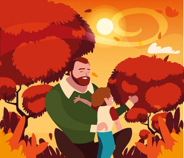 Pai com filho no outono Vetor Premium