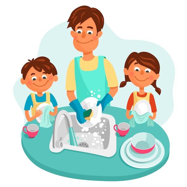 Pai com sua filha e filho lava pratos. crianças, um menino e uma menina, ajudam os pais. Vetor Premium