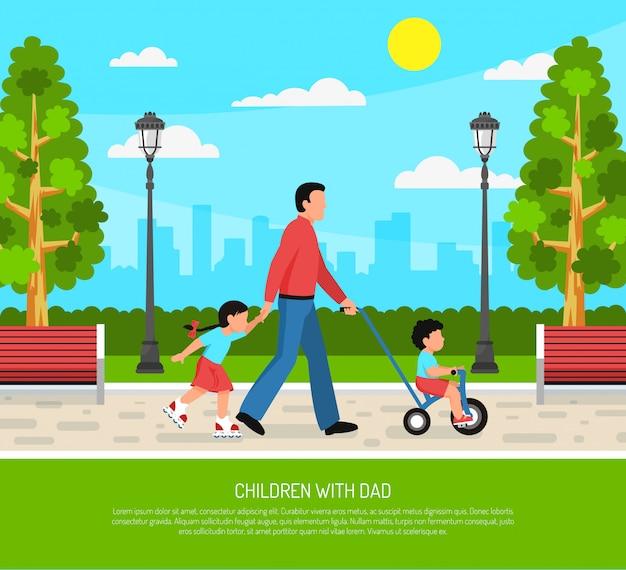 Pai crianças cartaz plana Vetor grátis