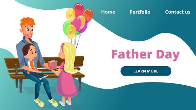 Pai dia cartoon homem menino e menina sentar no banco Vetor Premium