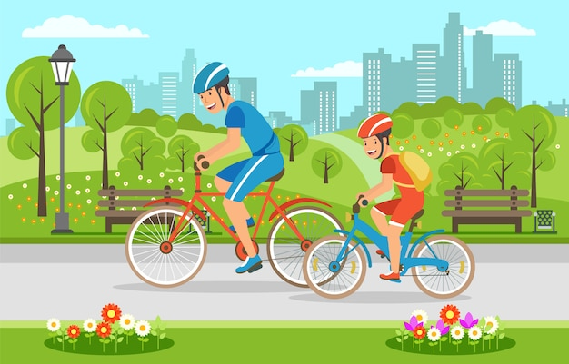 Pai dos desenhos animados com filho andando de bicicleta no parque Vetor Premium