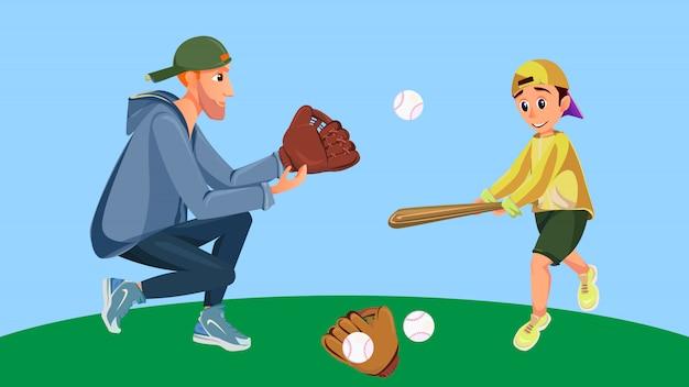 Pai dos desenhos animados e filho jogando baseball boy hit Vetor Premium