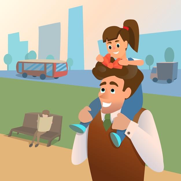 Pai e filha caminham juntos no parque da cidade. filha liga papa proa. Vetor Premium