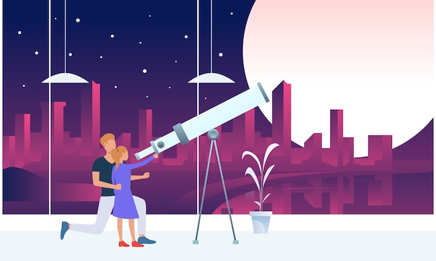 Pai e filha olhando a lua através do telescópio Vetor grátis