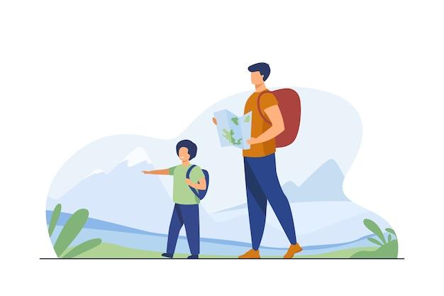 Pai e filho com mochilas caminhando ao ar livre. turistas com mapa de trekking em ilustração vetorial plana de montanhas. férias, viagens em família, conceito de caminhada Vetor grátis