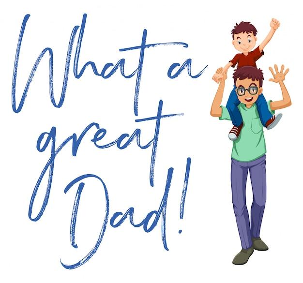 Pai e filho com palavras que grande pai Vetor grátis