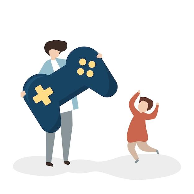 Pai e filho com um controle de jogo Vetor grátis