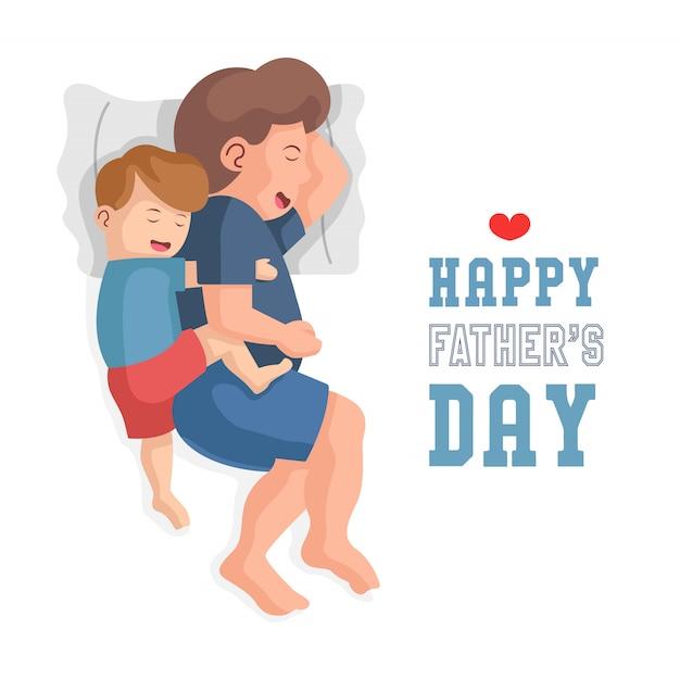 Pai e filho estão dormindo juntos. o filho abraçando o pai. feliz dia dos pais design plano conceito ilustração. Vetor Premium