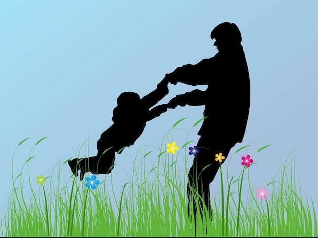 Pai e filho felicidade flores silhuetas Vetor grátis