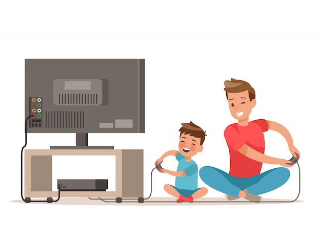 Pai e filho jogando jogo Vetor Premium