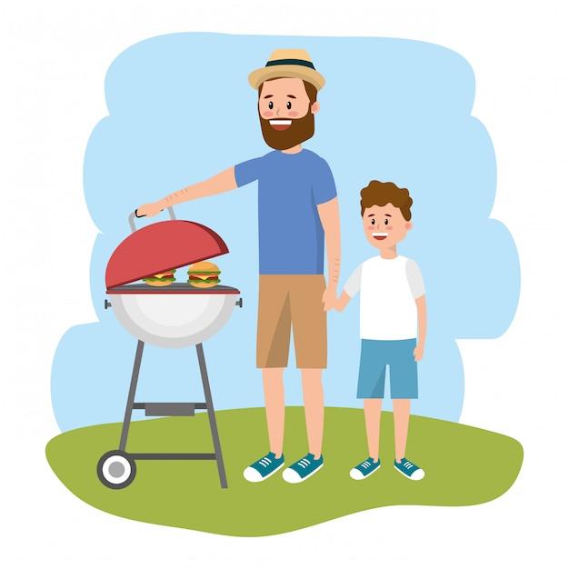 Pai e filho Vetor Premium
