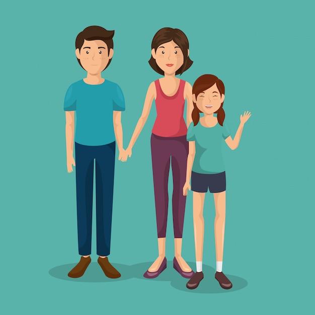 Pai e mãe com filha Vetor grátis