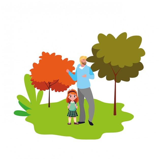 Pai e menina estudante ao ar livre de volta à escola Vetor Premium