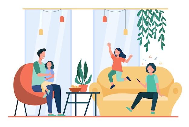Pai entretendo três filhos em casa. crianças felizes brincando e se divertindo com o pai. ilustração em vetor plana para pais solteiros, família, conceito de paternidade Vetor grátis