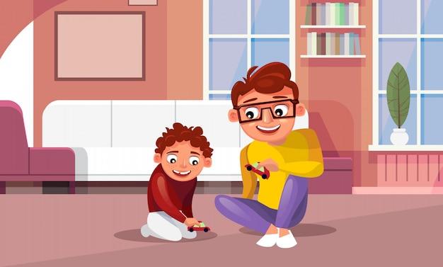 Pai jogando carros de brinquedo com filho em casa na sala de estar Vetor Premium