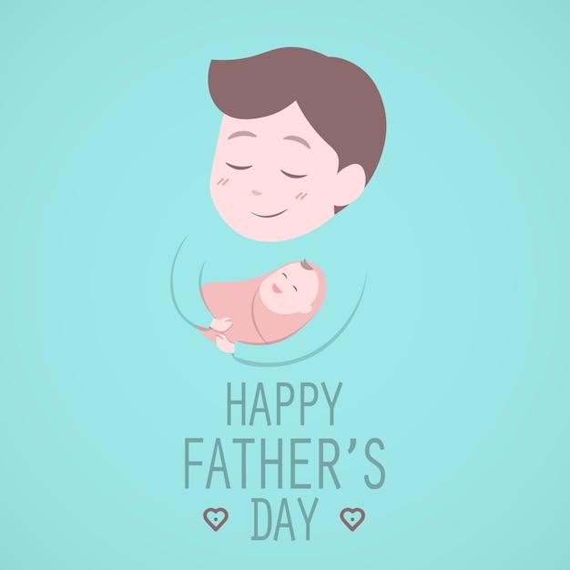 Pai, segurando, cute, bebê Vetor Premium