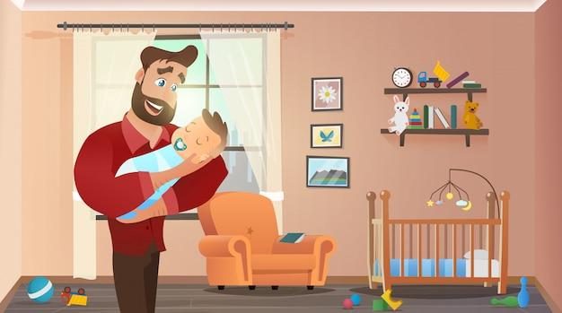 Pai, segurando, filho, em, lar interior, criança, sala Vetor Premium