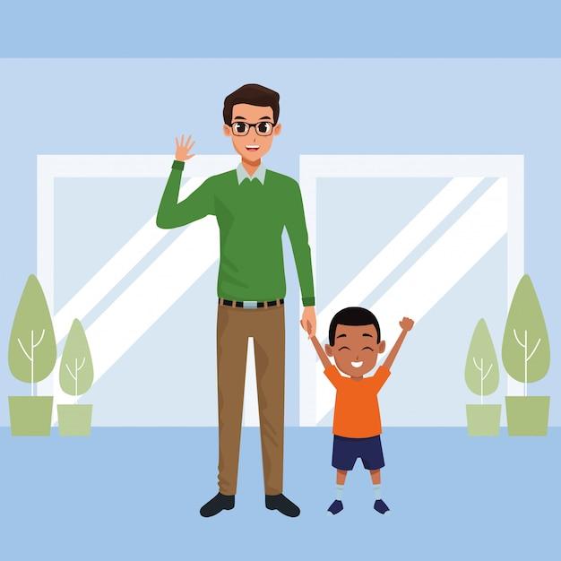 Pai solteiro, com, pequeno, filho, caricatura Vetor grátis