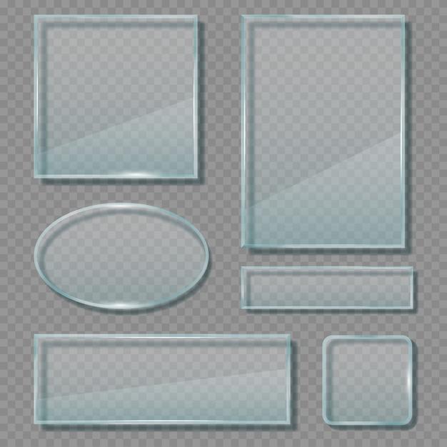 Painéis de vidro. molduras reflexivas acrílicas transparentes modelo de banners de formas vazias geométricas Vetor Premium