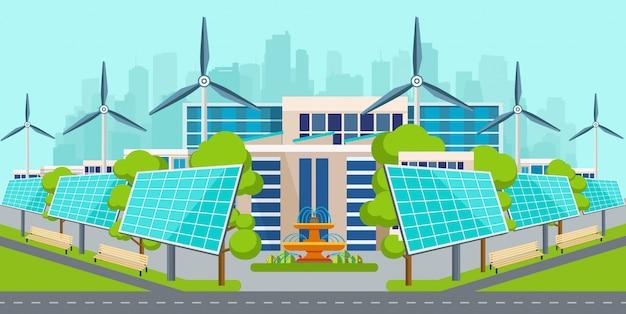 Painéis solares com turbinas eólicas na cidade. Vetor Premium
