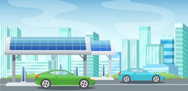 Painéis solares, energia alternativa, posto de gasolina, carregamento de carros a partir da eletricidade. Vetor Premium