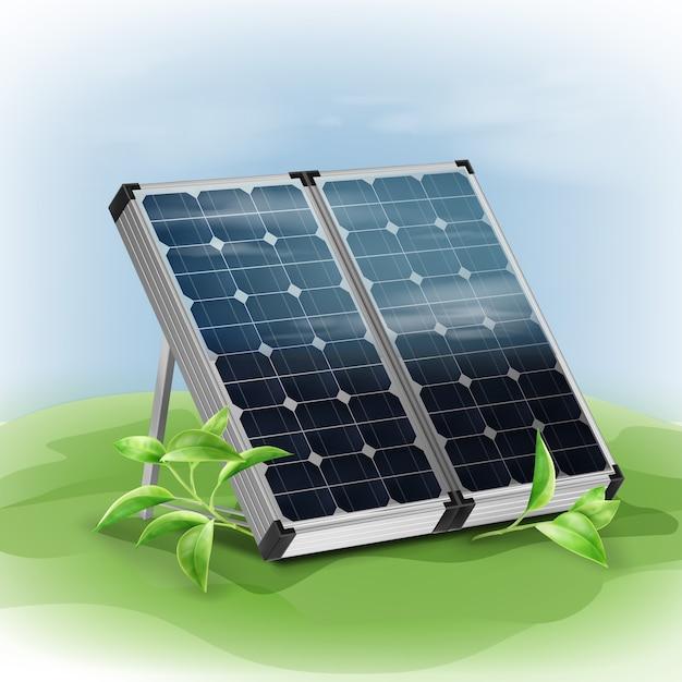Painéis solares isolados portáteis de vetor fecham-se com folhas verdes no fundo Vetor grátis