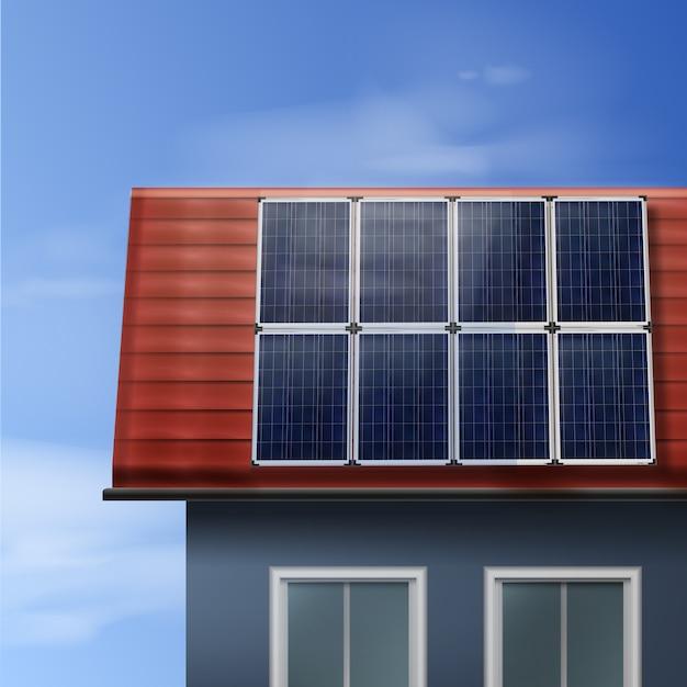 Painéis solares portáteis de vetor isolados em uma casa de telhado de azulejos com céu nublado Vetor grátis