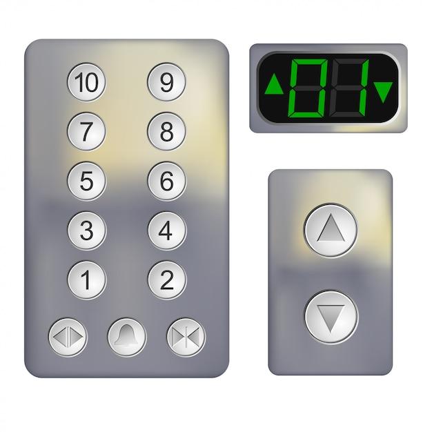 Painel de controle realista do elevador em branco Vetor Premium