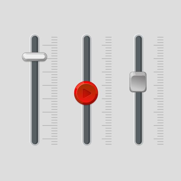 Painel de fader moderno com botões reguladores redondos e quadrados próximos a escalas. o volume da música ou as configurações de intensidade da luz controlam o equipamento. Vetor Premium