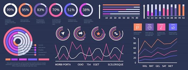 Painel de infográfico. conjunto de elementos de apresentação da interface Vetor Premium