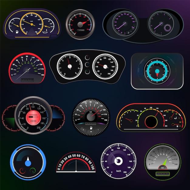 Painel de painel de velocidade do carro velocímetro vector e conjunto de design de medição de potência de aceleração da tecnologia de controle de limite de velocidade com seta Vetor Premium