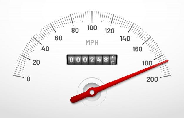 Painel do velocímetro do carro. painel do medidor de velocidade com odômetro, contador de milhas e discagem de urgência isolada Vetor Premium