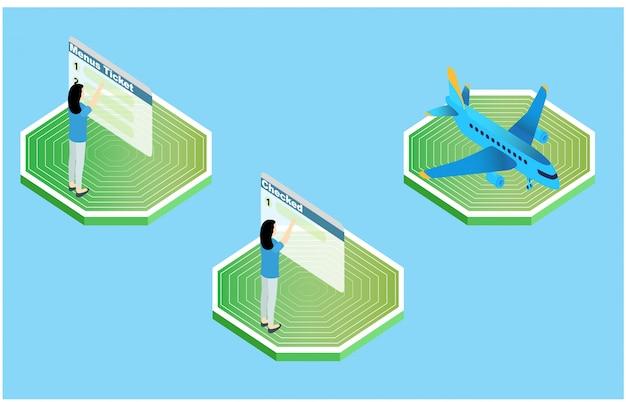 Painel isométrico de ilustração solar, ilustração vetorial Vetor Premium