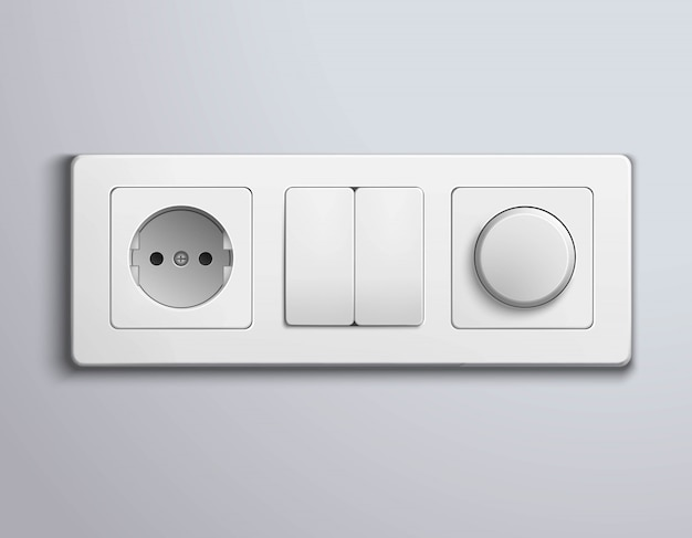 Painel realistas de interruptores de soquetes Vetor grátis
