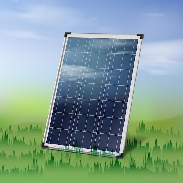 Painel solar isolado de vetor perto da grama verde sobre o céu azul nublado Vetor grátis