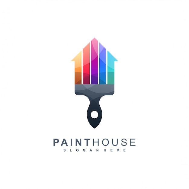 Paint house logo pronto para uso Vetor Premium