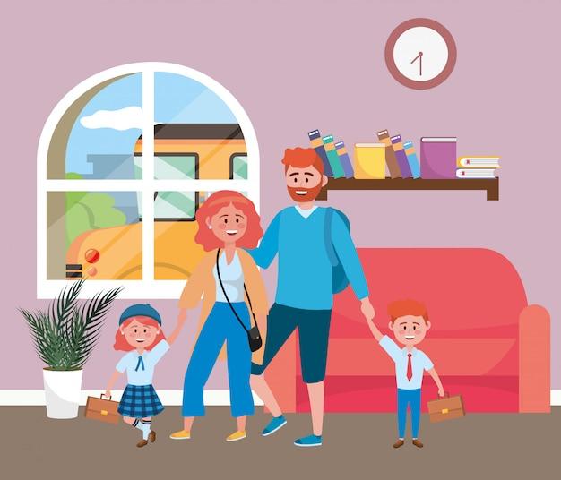 Pais, com, crianças, indo escola Vetor grátis