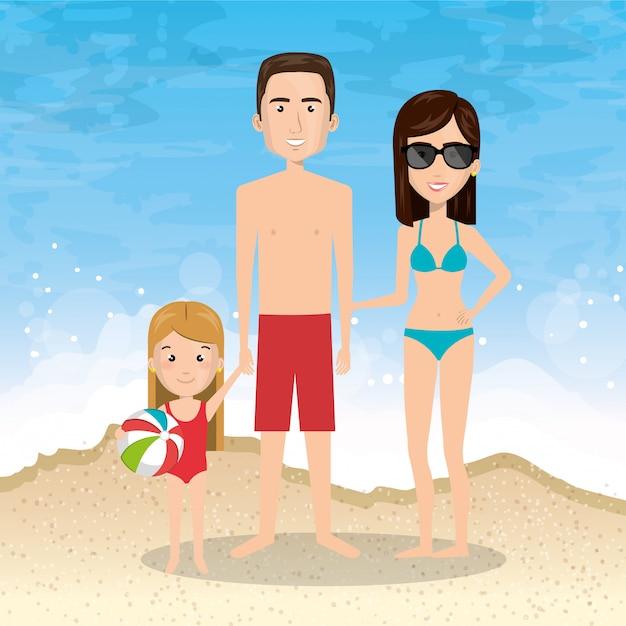 Pais com filha na praia Vetor grátis