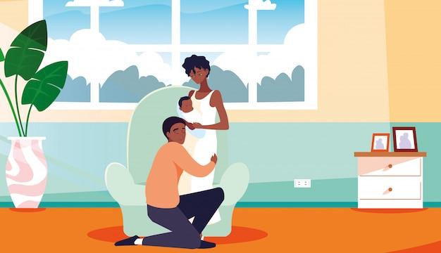 Pais com recém-nascido dentro de casa Vetor Premium