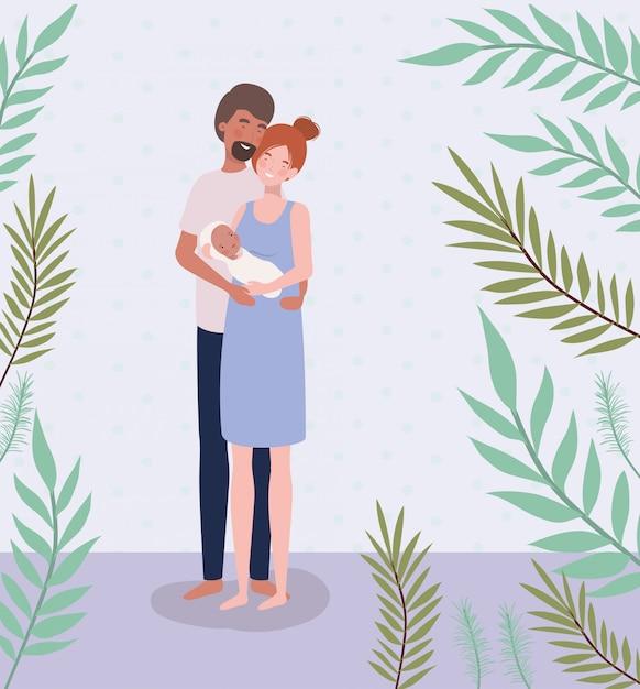 Pais, cuidando, de, bebê recém-nascido, com, folheia Vetor grátis