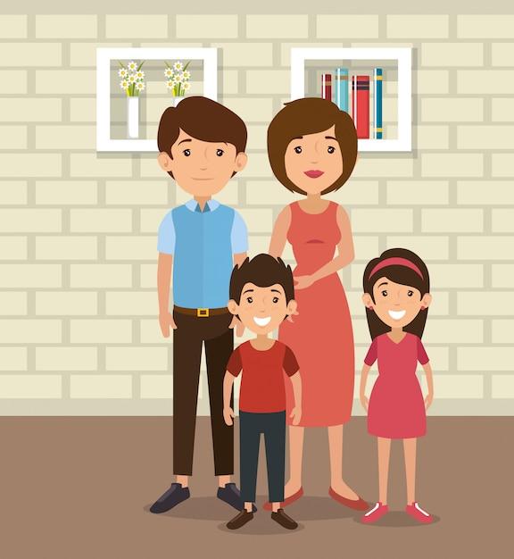 Pais de família em cena de lugar de casa Vetor grátis
