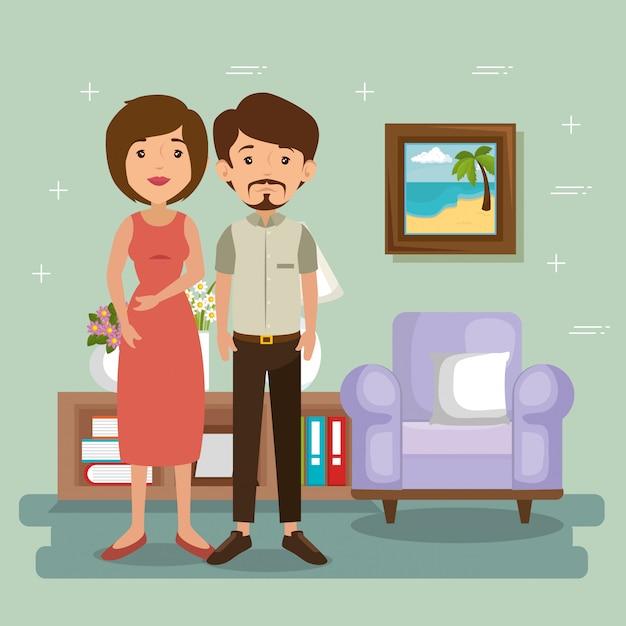 Pais de família na cena da sala de estar Vetor grátis