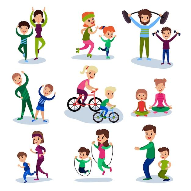 Pais e filhos treinando e fazendo exercícios esportivos juntos conjunto, conceito de família de esporte ilustrações Vetor Premium